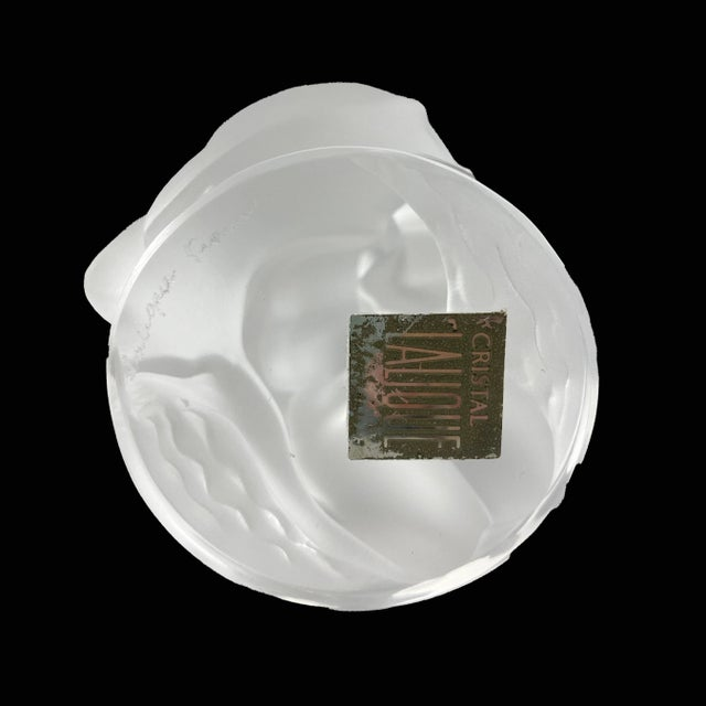 Lalique Mid 20th Century Lalique Leda and Swan Crystal Figure Signed For Sale - Image 4 of 5