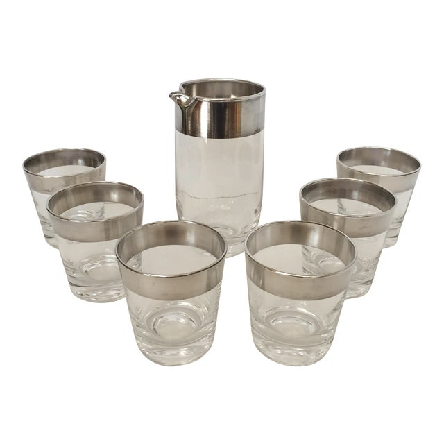Dorothy Thorpe Silver Banded Pitcher & Glasses - Set of 7 For Sale