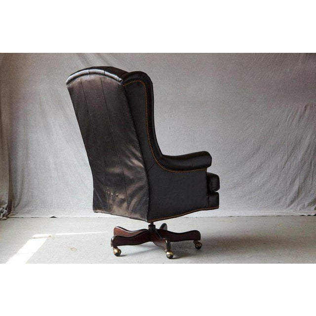 Hancock & Moore Tufted Black Leather Swivel -Tilt Executive Chair by Hancock & Moore For Sale - Image 4 of 12