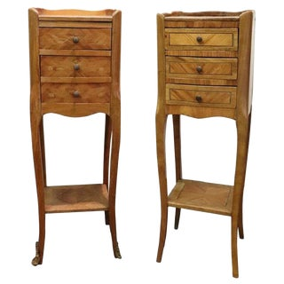 20th Century Italian Louis XV Style Inlay Wood Pair of Side Tables or Nightstand For Sale