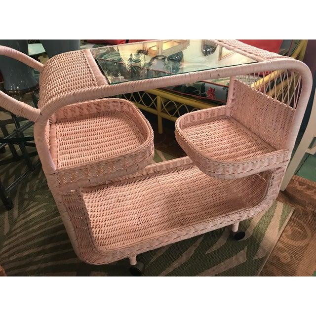Vintage Palm Beach Regency Pink Wicker Bar Cart For Sale - Image 11 of 13