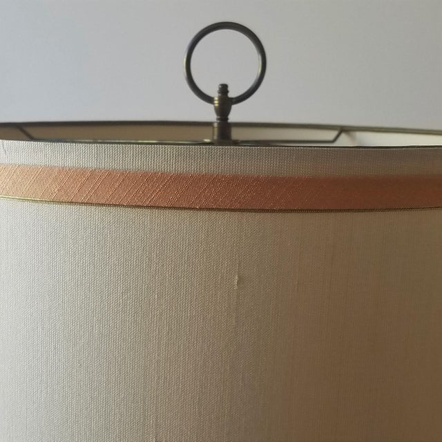 Frederick Cooper Mid 20th Century Bronze Table Lamps With Original Shades - a Pair For Sale In Seattle - Image 6 of 12