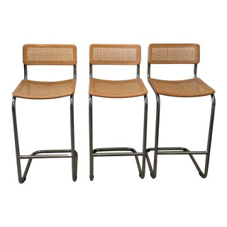Vintage Mid-Century Modern Cesca Style Barstools - Set of 3 For Sale