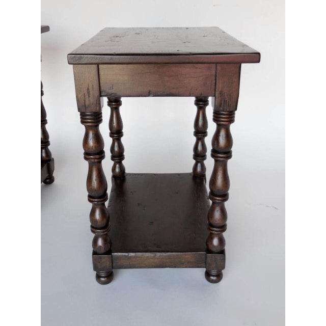 Wood Pair of Custom Walnut Side Tables/Nightstands with Turned Legs, Drawer and Shelf For Sale - Image 7 of 8