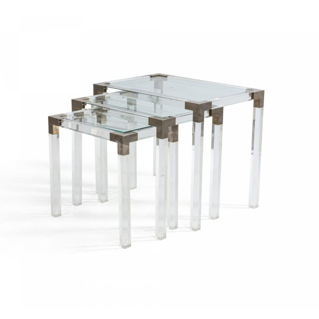 1950s 1950s French Mid-Century Lucite & Metal Nesting Tables - Set of 3 For Sale - Image 5 of 5
