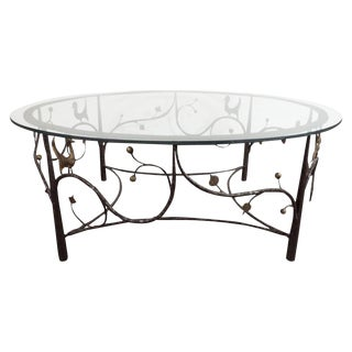 Midcentury Scrolling Bronze Coffee Table with Flora and Fauna Motifs For Sale