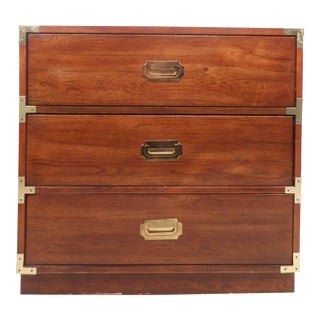 Mid-Century Modern Campaign Style Three-Drawer Chest by Bernhardt For Sale