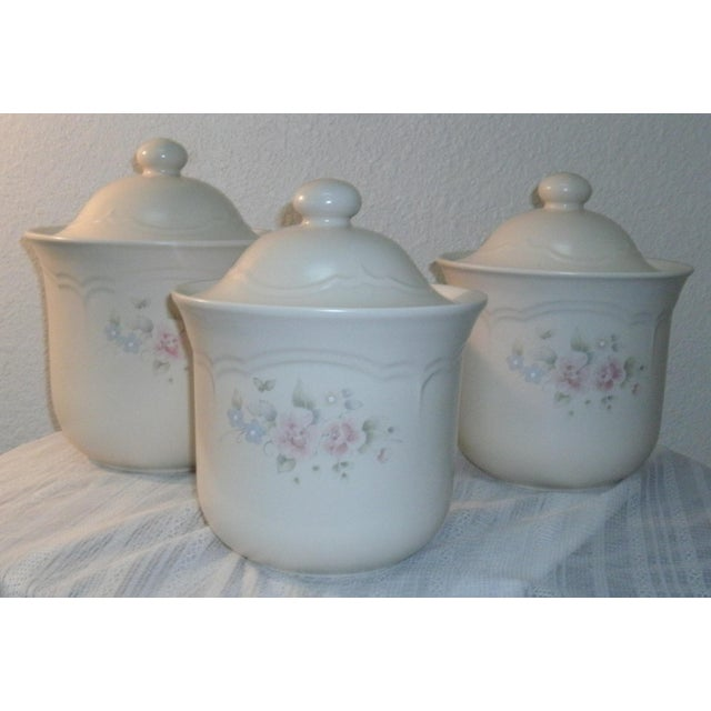 Pfaltzgraff Tea Rose Cookie Jar Canisters - Set of 3 For Sale - Image 11 of 11