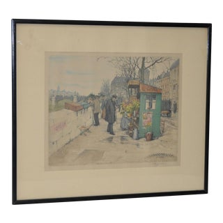 Czech Artist t.f. Simon Color Lithograph C.1920 For Sale