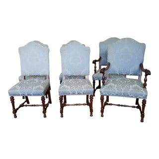 Set 6 Antique 1920s Walnut Renaissance Style Dining Room Chairs For Sale
