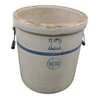Vintage Blue Band Stoneware Crock For Sale