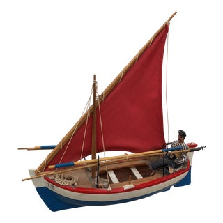 Vintage Model Pond Sail Boat & Handmade Sailor Doll For Sale