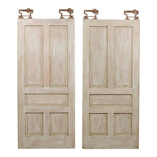 Early 20th Century Painted Wood Pocket Doors - a Pair For Sale