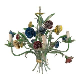 Vintage Shabby Chic Metal Floral Chandelier For Sale
