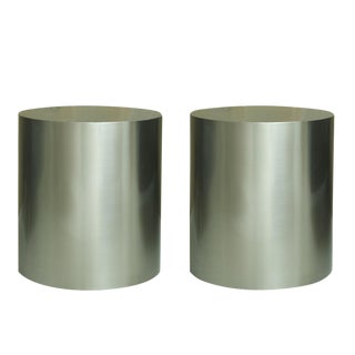 Pairof Milo Baughman Brushed Steel Round Occasional Tables