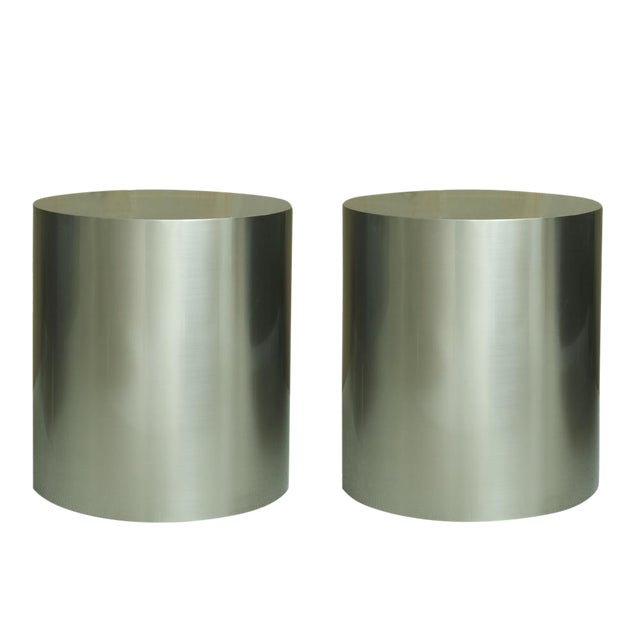 Pairof Milo Baughman Brushed Steel Round Occasional Tables For Sale