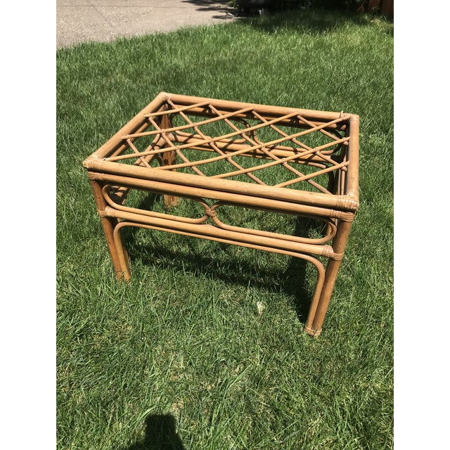 1960s Vintage Bamboo Rattan Side Table For Sale - Image 5 of 8