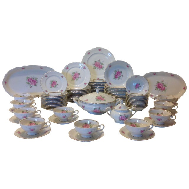 Bavarian Pink Rose China Set - Set of 84 For Sale