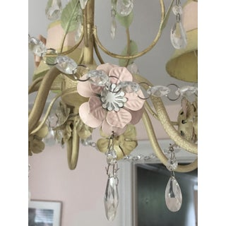 Pink and Green Floral With Bows Crystal Chandelier Preview