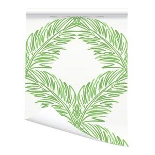 Victoria Larson Palm Trellis Grasscloth - Green For Sale