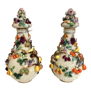 "Pair Exceptional Antique ""Milles Fleurs"" (1000 Flowers) Dresden Vases, Circa 1900. For Sale"
