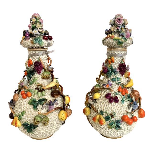 """Pair Exceptional Antique """"Milles Fleurs"""" (1000 Flowers) Dresden Vases, Circa 1900. For Sale"""