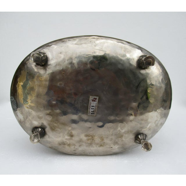 Castilian Hammered Silver Monkey Embossed Centerpiece Jardiniere, Planter For Sale - Image 11 of 13