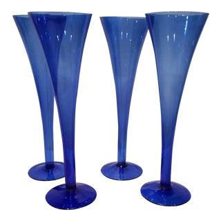 Vintage Cobalt Blue Hollow Stem Champagnes - Set of 4