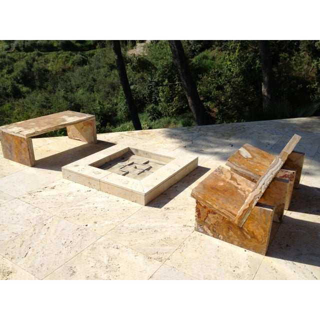 Minimalist onyx stone terrace seating. Set of three (3) pieces -- two (2) chairs and one (1) bench. Solid stone slabs...