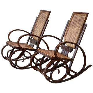 20th Century Stunning Art Deco Bentwood and Reed Seats Rocking Chairs For Sale