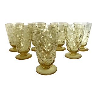 1970s Amber Bubbled Footed Glasses - Set of 8 For Sale