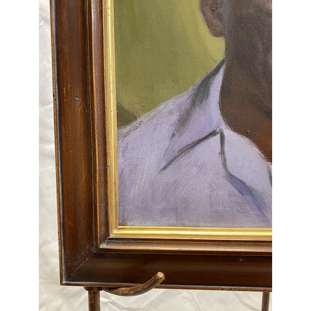 Vintage Oil on Canvas Portrait of an African American Man Framed Painting For Sale In New York - Image 6 of 8
