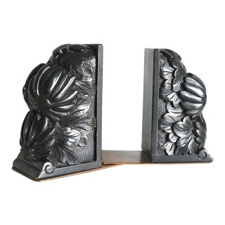 Antique Carved Ebonized Wood Bookends - A Pair For Sale