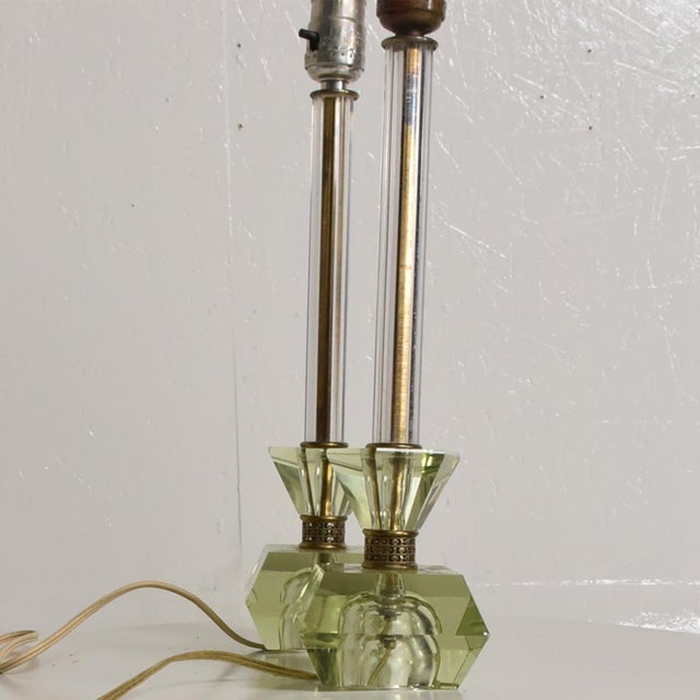 Hollywood Regency Era Crystal Table Lamps With Light Green Color Set of 2 For Sale - Image 9 of 11