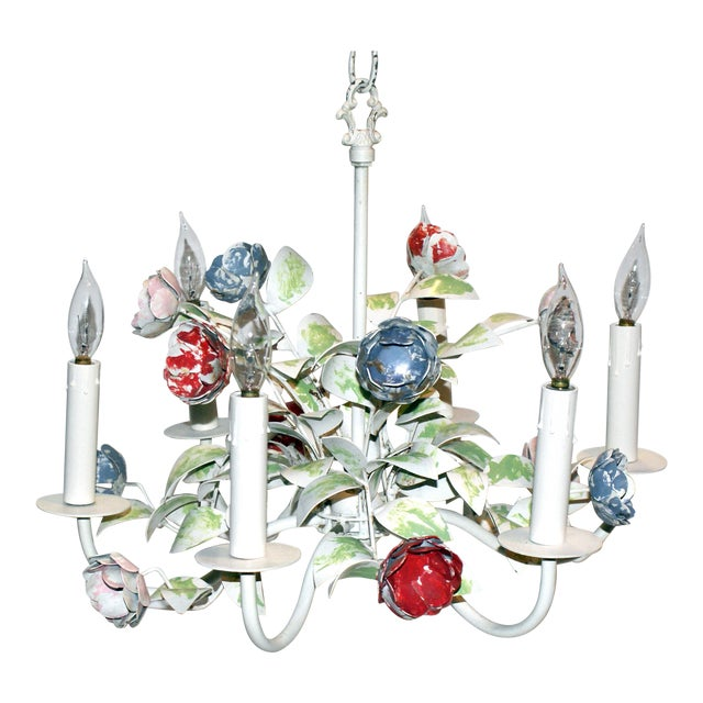 Vintage Shabby Chic Floral Tole Chandelier For Sale