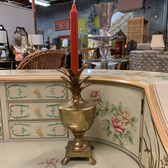 Brass Pineapple Candle Stick Vessel For Sale - Image 9 of 12