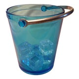 Image of Vintage Blue Glass Ice Bucket For Sale
