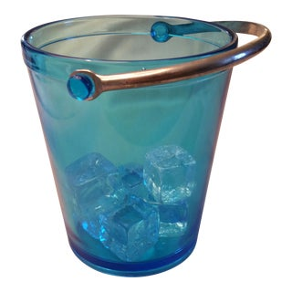 Vintage Blue Glass Ice Bucket For Sale