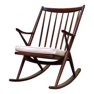 Danish Walnut Rocking Chair With Ivory Leather Cushion For Sale