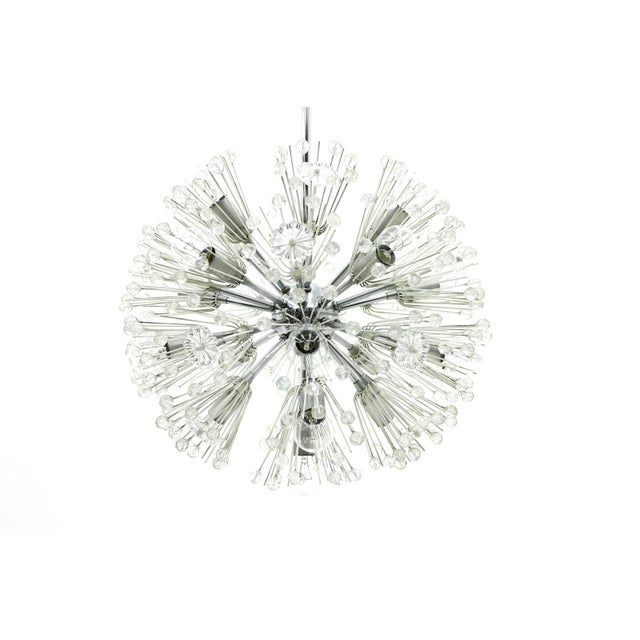Transparent Emil Stejnar Chandelier Snowball Glass an Chrome Seventeen Lights Austria 1960 For Sale - Image 8 of 8