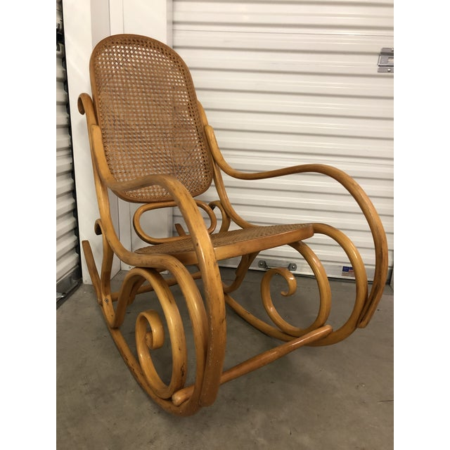 19th Century Thonet Bentwood & Cane Wood Rocker Rocking Chair For Sale - Image 13 of 13
