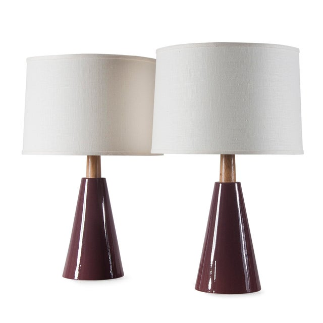 Stone and Sawyer Gio II Lamps in Plum Glaze - a Pair For Sale - Image 4 of 4