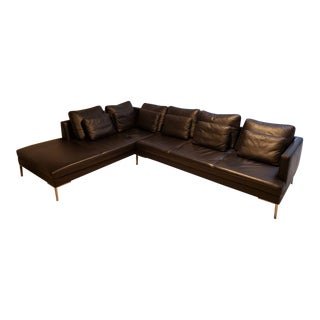 BoConcept Black Leather Sectional Sofa For Sale