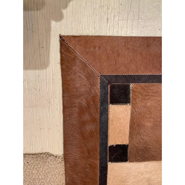 Brown Geometric Patchwork Cowhide Area Rug For Sale - Image 8 of 13