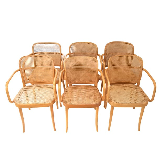 """A set of iconic """"Prague 811"""" armchairs imported from Czechoslovakia in the 1970s. The armchairs feature beech bentwood..."""