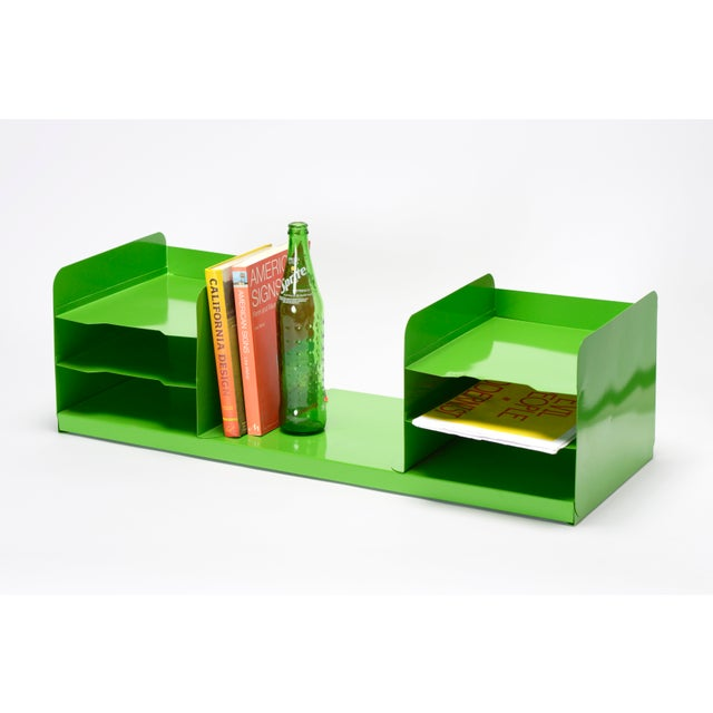 "Mid-Century Modern Extra Large Mid Century Tanker Office Organizer, Refinished in Gloss ""Lime Green"" For Sale - Image 3 of 7"