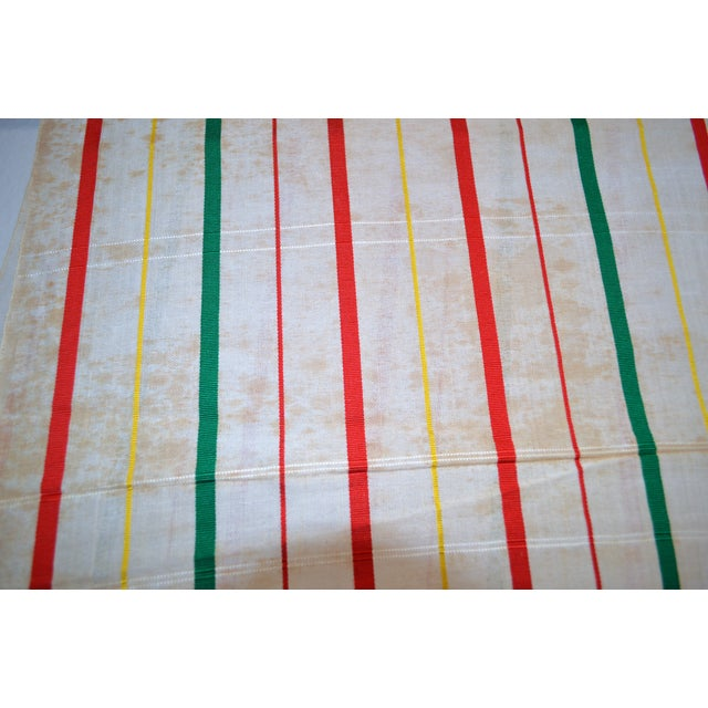 Textile White, Red & Green Japanese Linen Kimono Obi Cheques Antique For Sale - Image 7 of 10