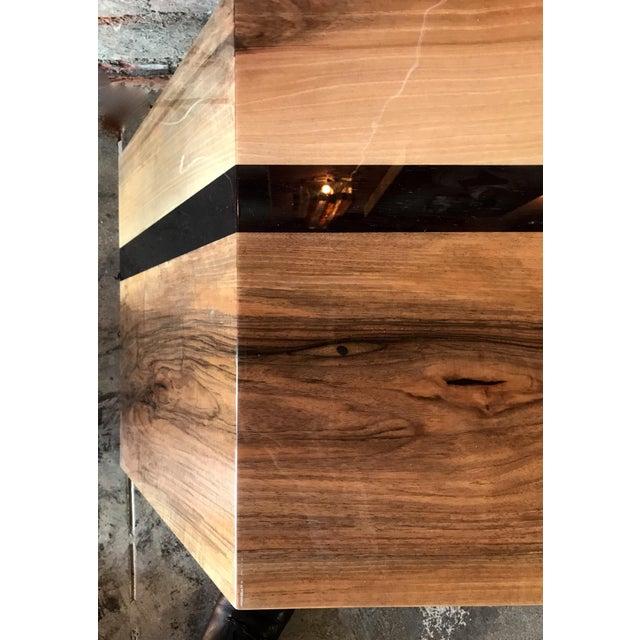 Italian Minimalist Monolithic Oak Bench For Sale - Image 4 of 10
