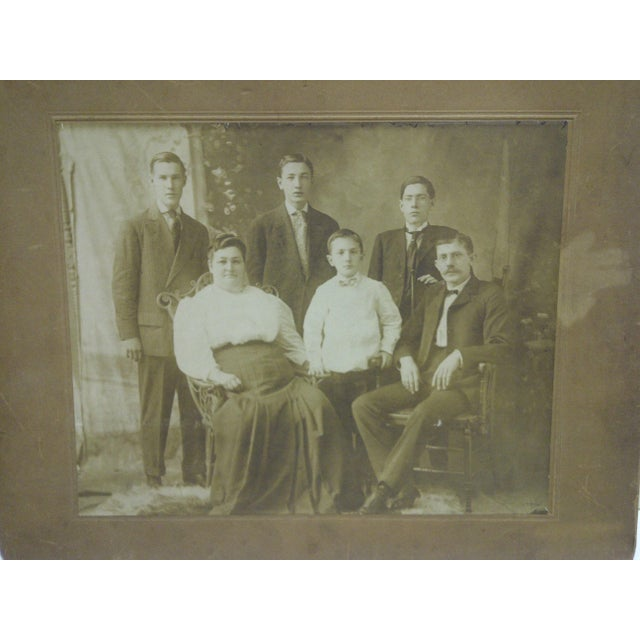 """Americana Vintage 1920s """"Family Portrait"""" Mounted Black & White Photograph For Sale - Image 3 of 7"""