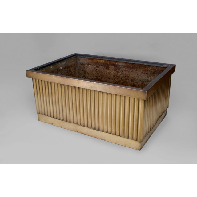 2 Pair of American 1930's monumental rectangular bronze planters (jardiniere) with a fluted design (PROVENANCE:...